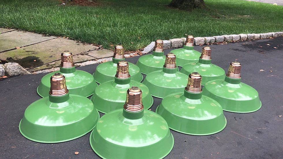 Antique Copper-Top Green Porcelain Industrial Barn Lights