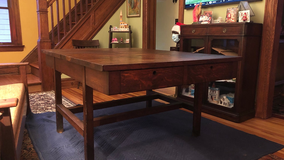 Antique Vtg Oak Mission Arts & Craft Industrial Shop Craft Library Table 1900-20