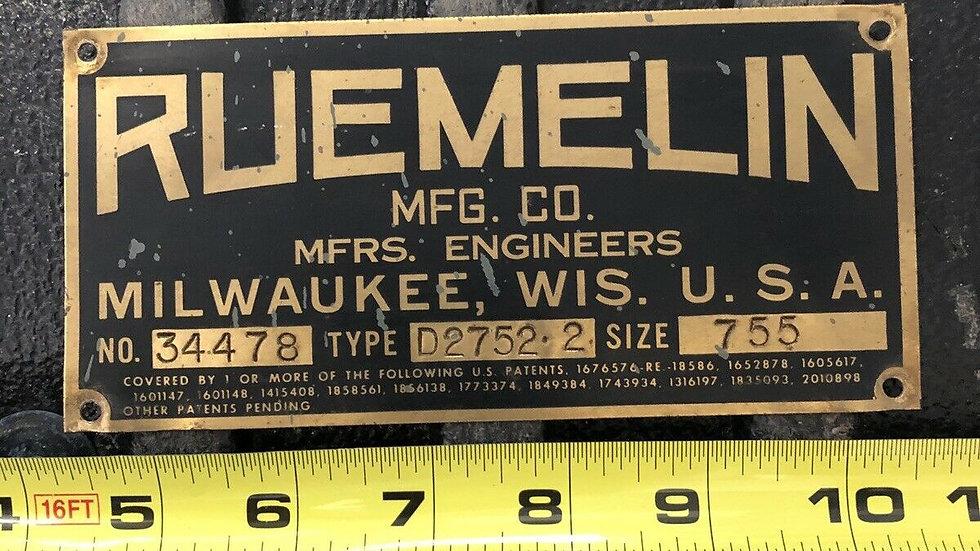VTG Reumelin Brass Machine Sign Milwaukee Wisconsin Antique Industrial Old