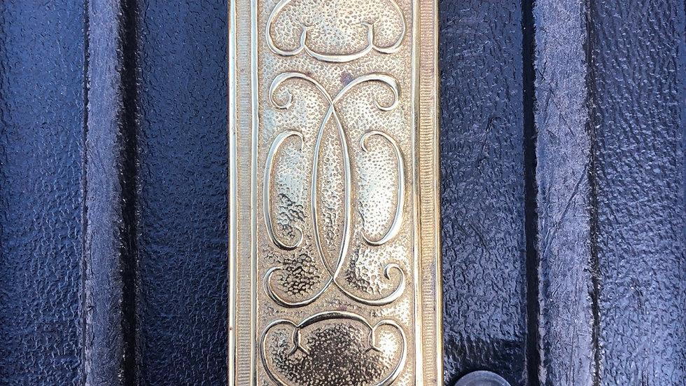 Antique Cast Brass Victorian Butler Pantry Seing Door Push Plate OLD 1890 Vtg