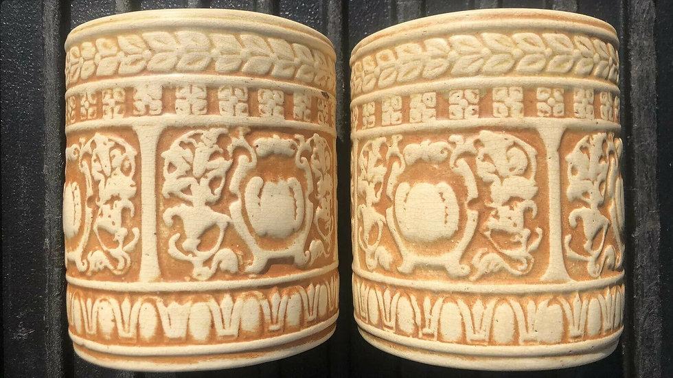 Pair Of Weller Pottery Vases Pots Art Nouveau Matte Glaze Marked VTG Antique Old