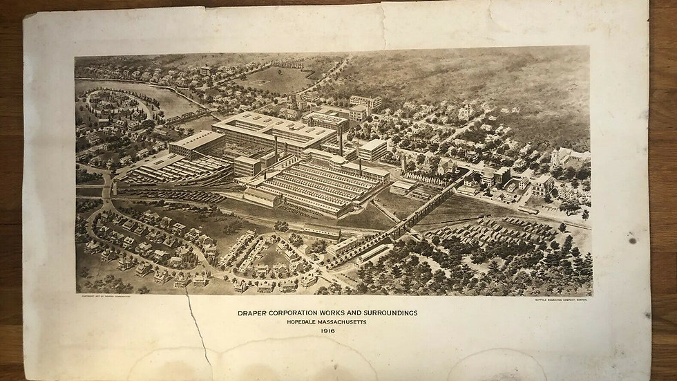 Draper Corporation Hopedale MA Factory Building Antique Print Engraving VTG Old