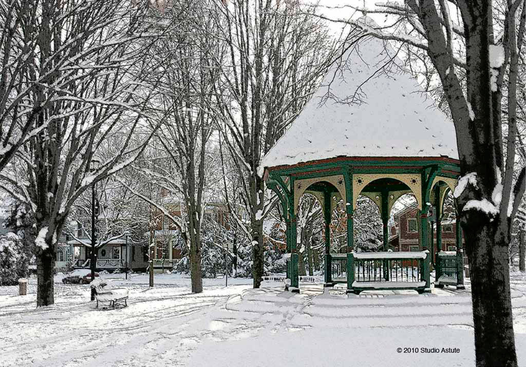 Gazebo in Corn Hill at Christmas