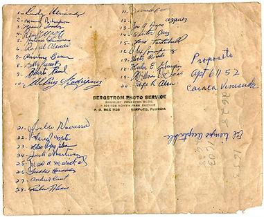Autographs of Latin American professional baseball players