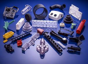 Plastic parts on blue