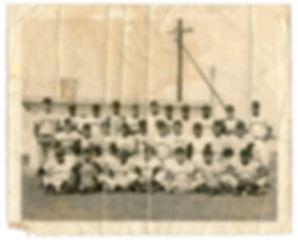 Photo of Latin American baseball players before restoration