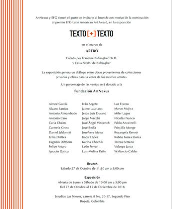 TEXTO [+] TEXTO   Fundación ArtNexus, Bogotá