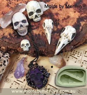 Raven skull and human skull molds or moulds