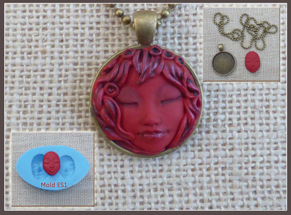 Asian face Push Mold faces for jewelry pendant