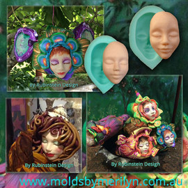 Polymer Clay Silicone Mold female faces.