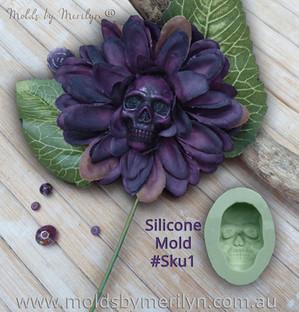 Purple Skull Flower mold Sku1