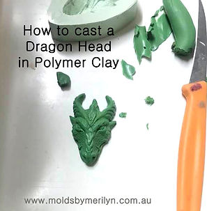 Casting a dragon head silicone molds in PolymerClay