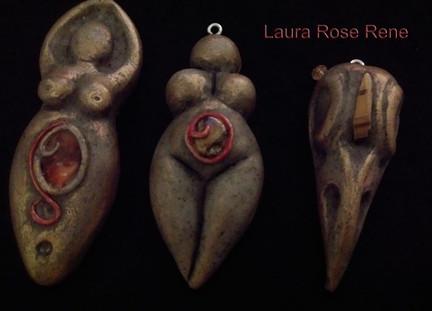 Femail Goddess Pendant and Raven Skull