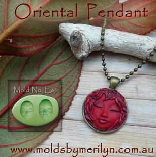Oriental red pendant.
