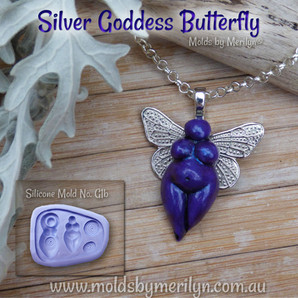 Siliver Goddess butterfly pendant