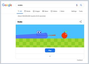 Snake game on Google.com