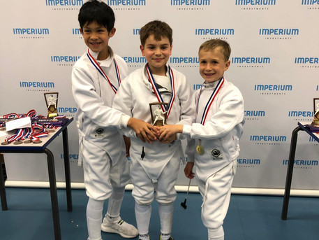 Our triple threat team, Leo (left), Timur (centre), Ivan (right) Won Gold at LPJS Brixton Team Epee
