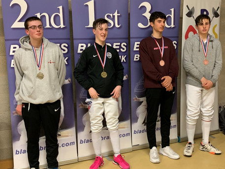 Toby (right) Wins Bronze at Elite Epee Surrey 2019