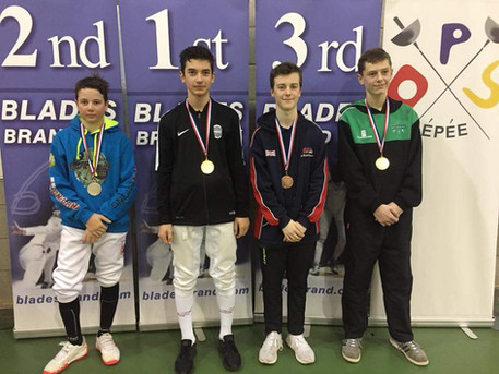 Alec wins Silver at Elite Epee Surrey U14!
