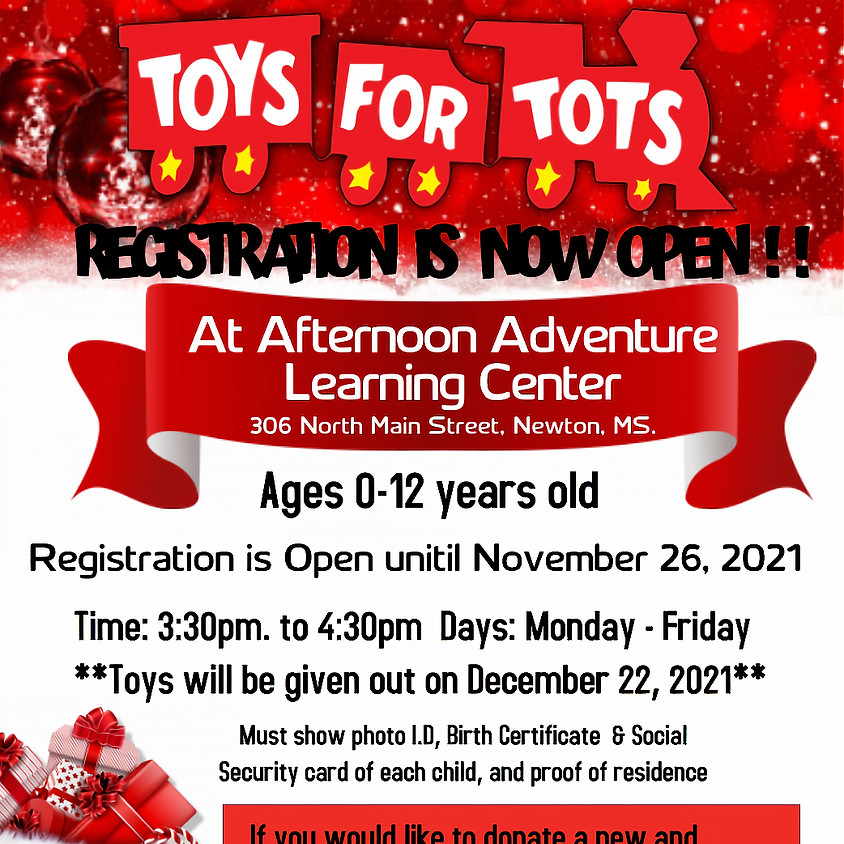 Toys For Tots Registration (Monday - Friday)