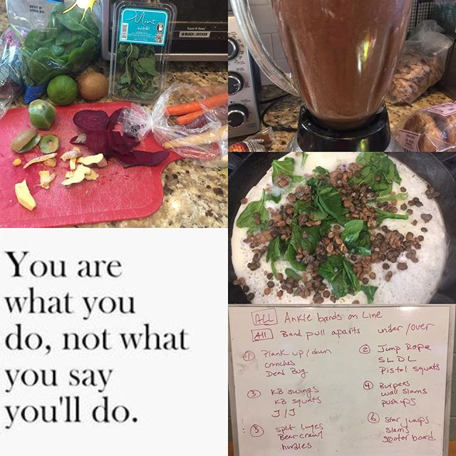 Designer Whey Protein Drink, Chopped Veggies and Egg Whites with Spinach, Sample Workout