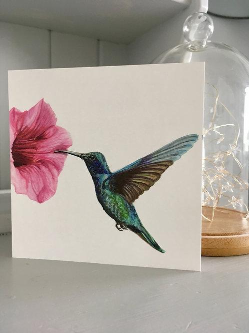 Watercolour hummingbird and flower