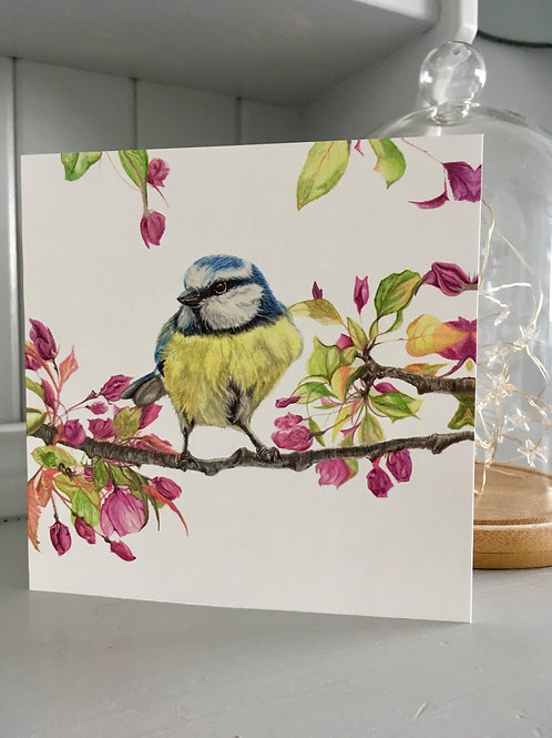 Blue Tit and flowers Greetings Card