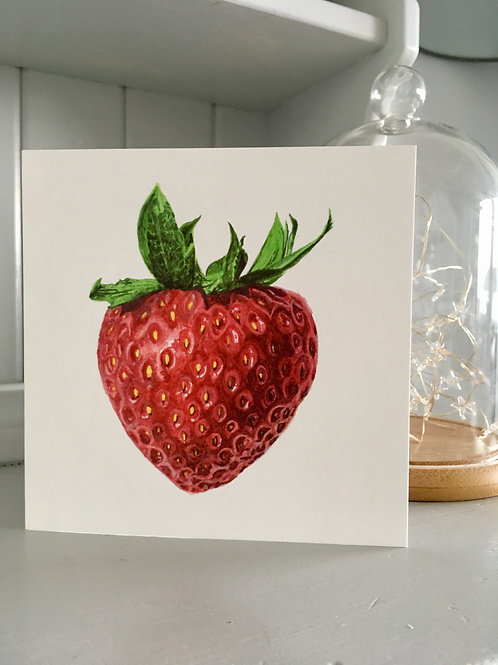 Strawberry watercolour card