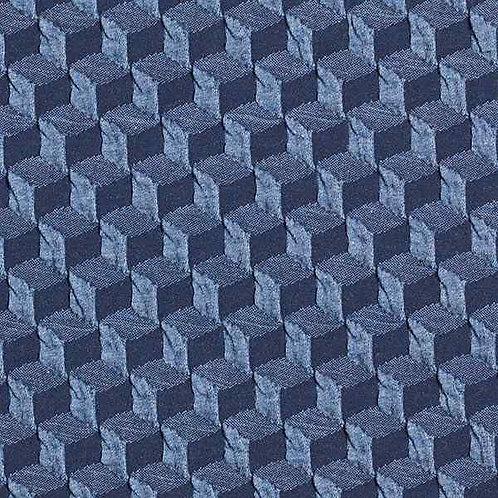 Organic | Plain Stitches Diced Cloqué Denim Blue & Navy Blue