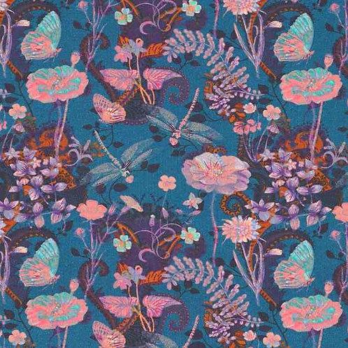 Organic | Dragonflies & Flowers Petrol