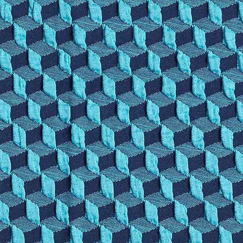 Organic | Plain Stitches Diced Cloqué Aqua Blue & Navy Blue