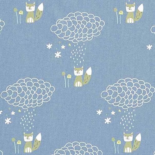 Organic | Cotton Cretonne Fox in the Rain Blue Grey