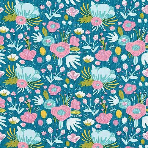 Organic | Floral Turquoise Blue