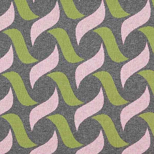 Organic   Botanical Plait Grey, Green & Pink