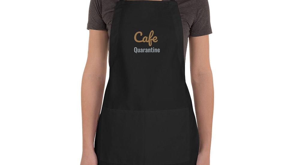 """Cafe Quarantine"" Embroidered Apron"