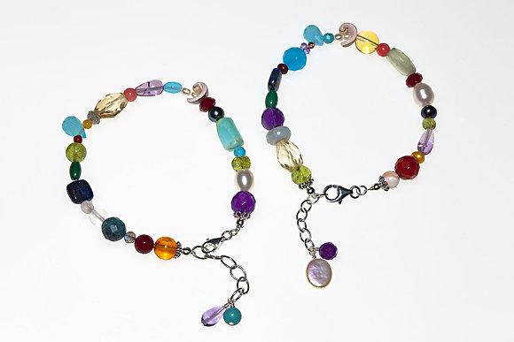 Calico mixed-stone bracelet