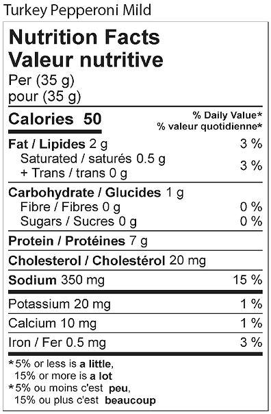 mild turkey pepperoni nutritional 2021.j