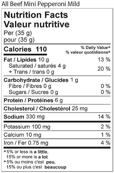 all beef mini pepperoni mild nutritional