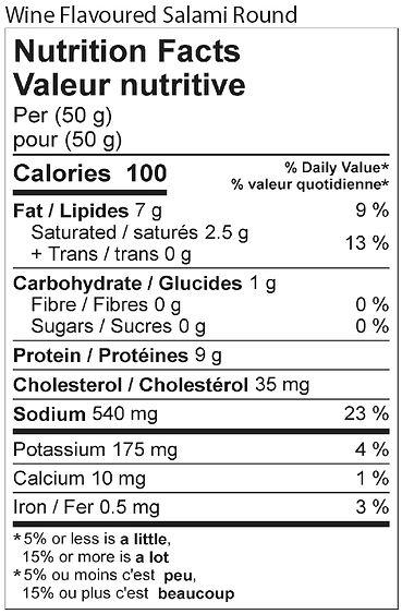 wine flavoured salami round nutritional