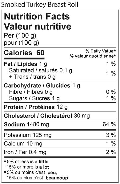 smoked turkey breast roll nutritional 20