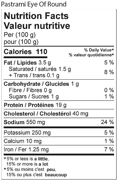 pastrami eye of round nutritional 2021.j