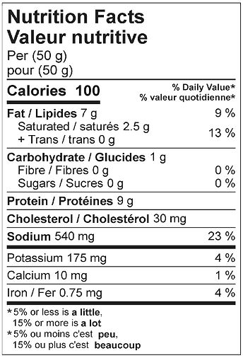 pepperseed salami nutritional april 2021