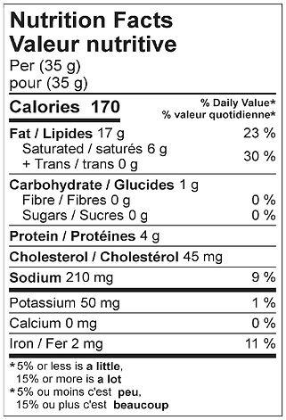 liversausage herb nutritional april 2021