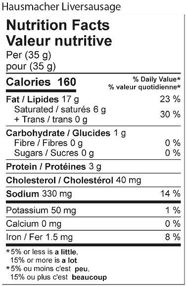 hausmacher liversausage nutritional 2021