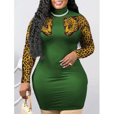 Casual O Neck Leopard Print Green Knee Length Dress
