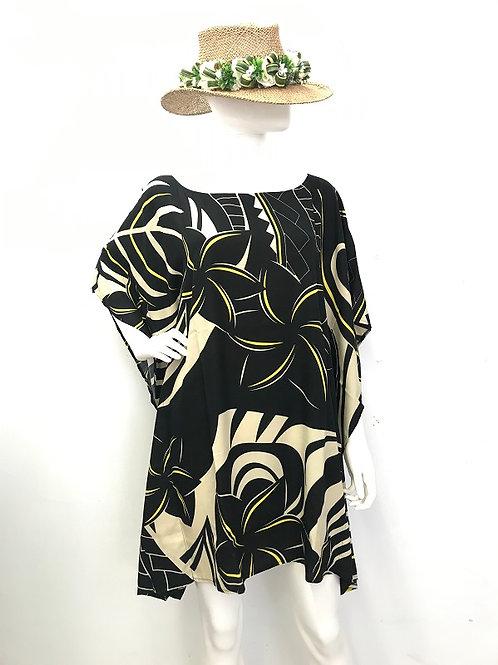 Baggy dress (Black-Beige)Plumeria