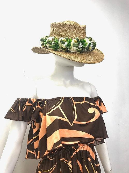 Off Shoulder dress (Orange/Brown)Plumeria