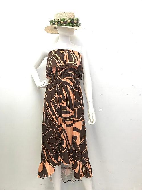 Ruffle dress (Orange/Brown)Plumeria