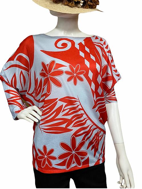 Dolman sleeve (Red-Sky)Plumeria