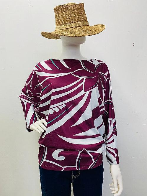 Long sleeve (Burgundy)Plumeria